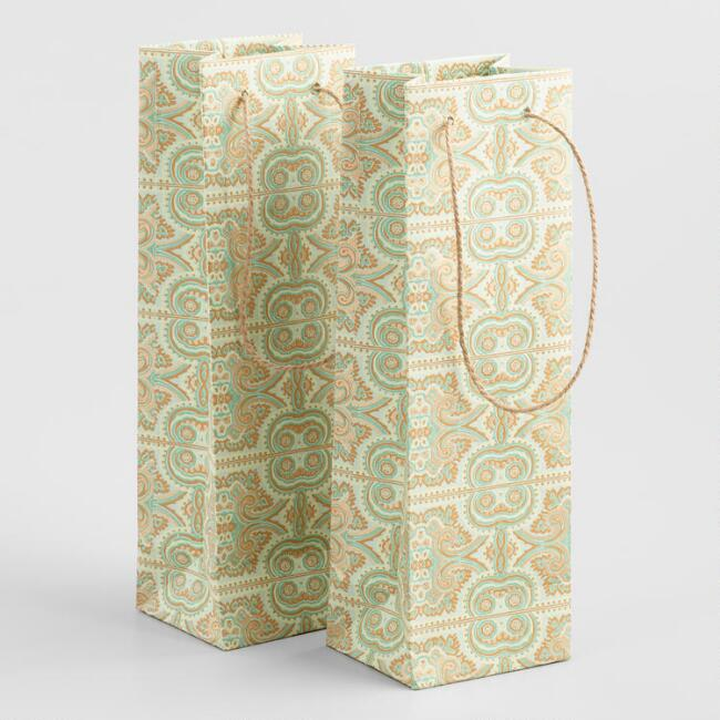 Green and Gold Paisley Handmade Wine Bags Set of 2