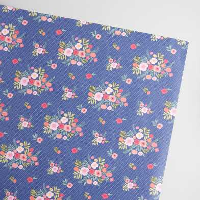 Navy Floral Bouquet Kraft Wrapping Paper Roll