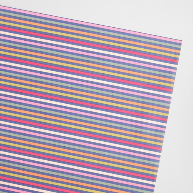 Navy and Pink Striped Kraft Wrapping Paper Roll