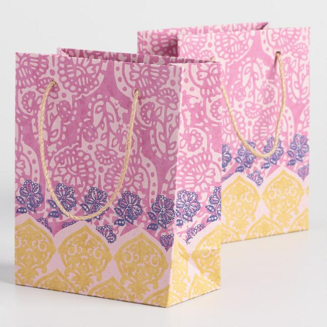 Small Pink Block Print Handmade Gift Bags Set of 2