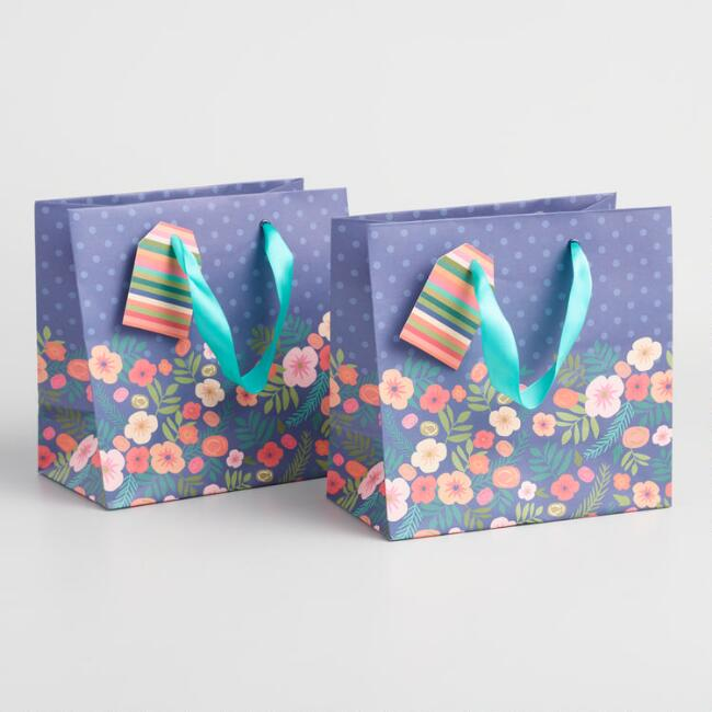 Small Navy Floral Bouquet Kraft Gift Bags Set of 2