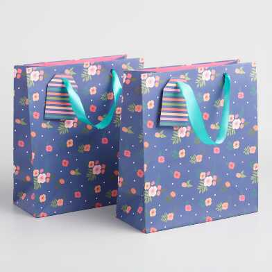 Medium Navy Floral Bouquet Kraft Gift Bags Set of 2