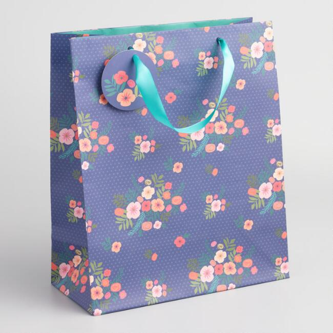 Large Navy Floral Bouquet Kraft Gift Bag