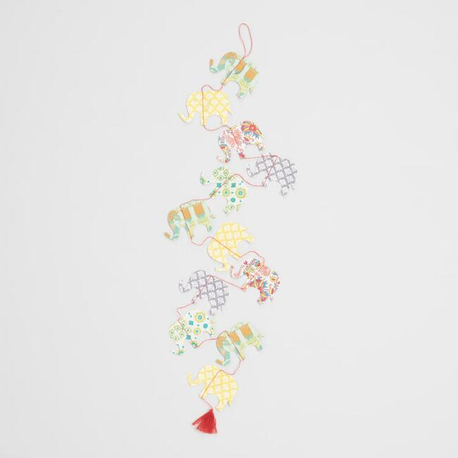Multicolored Elephant Paper Garland