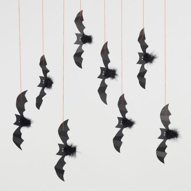 Halloween Bats Hanging Decor Set of 8