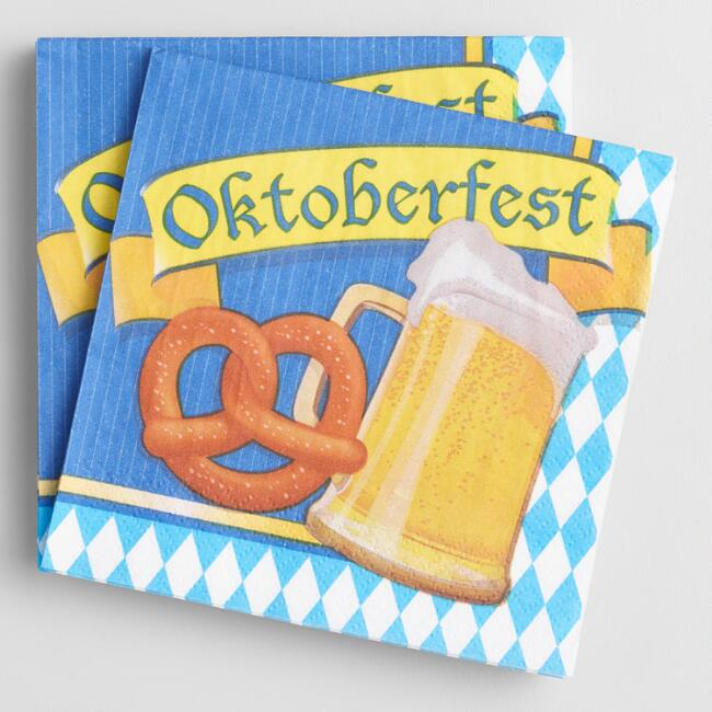 Pretzel And Beer Oktoberfest Beverage Napkins 20 Count
