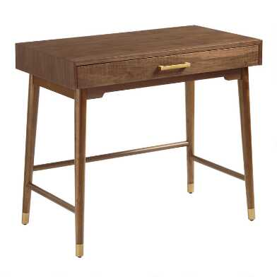 Walnut and Gold Metal Zola Desk