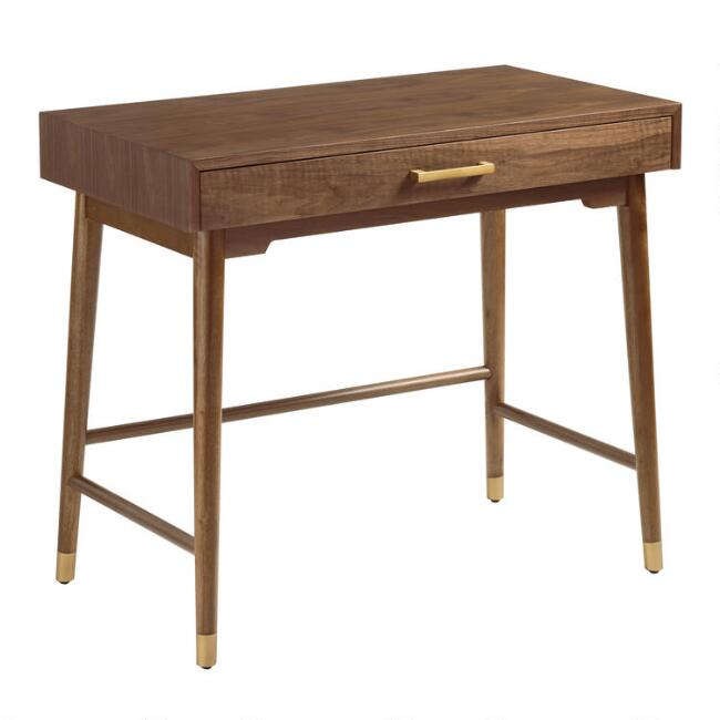 Brown and Gold Walnut Zola Desk