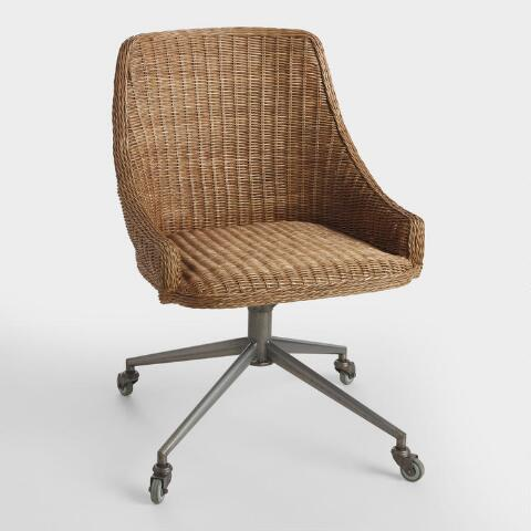 Admirable Honey Brown Wicker Tania Office Chair Andrewgaddart Wooden Chair Designs For Living Room Andrewgaddartcom