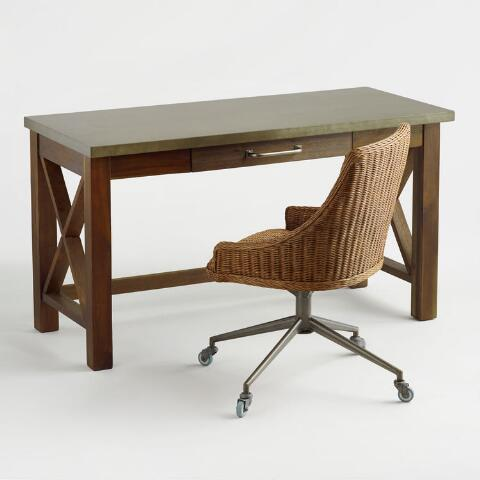 Enjoyable Honey Brown Wicker Tania Office Chair Andrewgaddart Wooden Chair Designs For Living Room Andrewgaddartcom