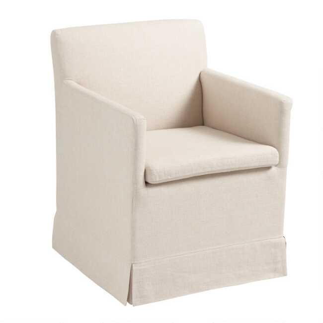Natural Linen Elena Armchair With Casters World Market
