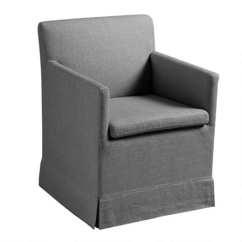 Magnificent Natural Linen Elena Armchair With Casters World Market Dailytribune Chair Design For Home Dailytribuneorg