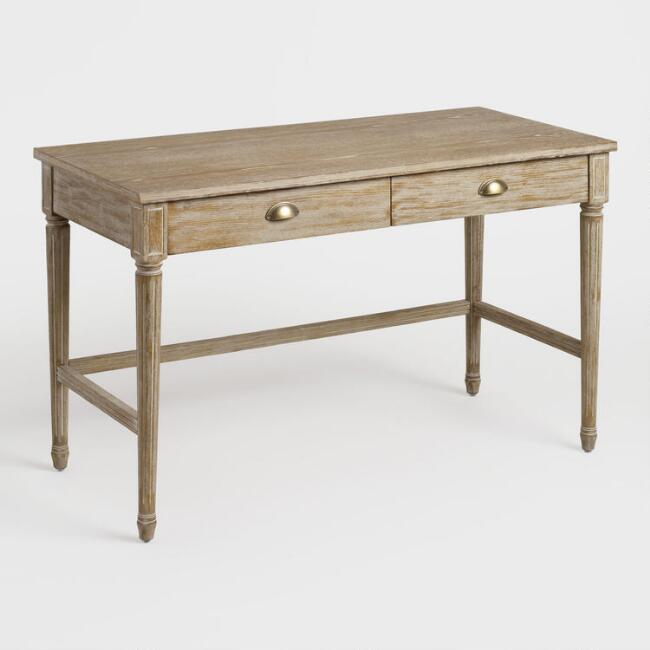 Brown Distressed Wood Paige Desk