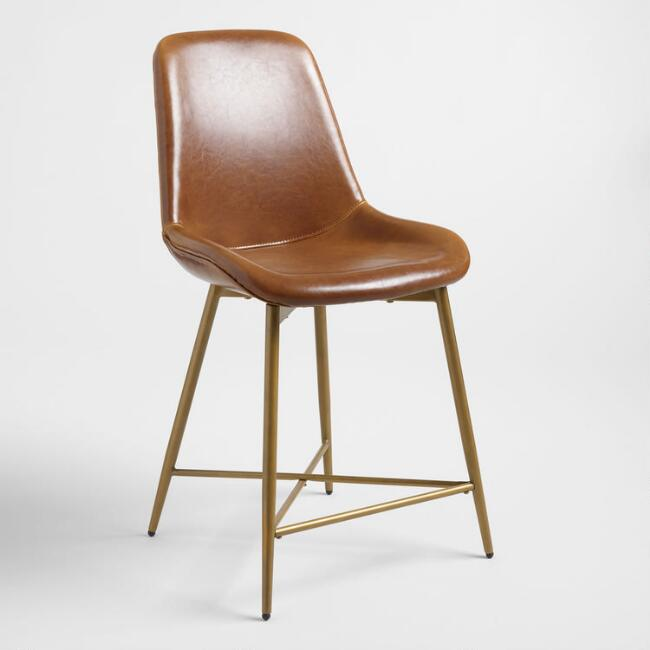 Cognac Brown Bi Cast Leather Tyler Molded Counter Stool