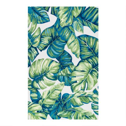 Green Palm Print Indoor Outdoor Rug