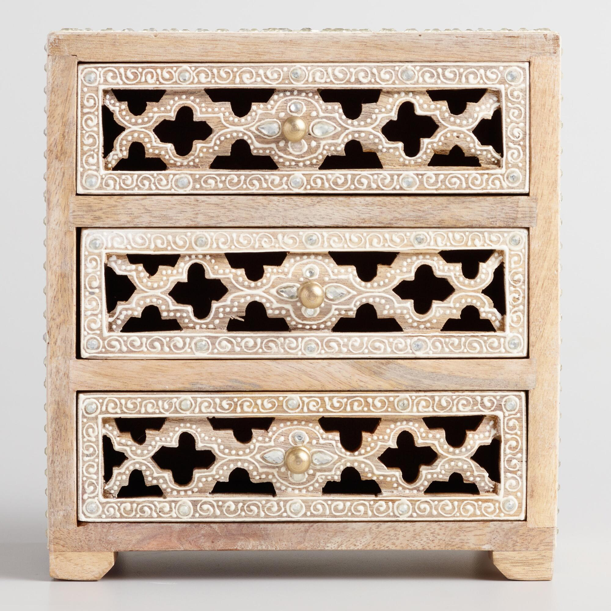 Wood Jali Tabletop Storage Chest by World Market