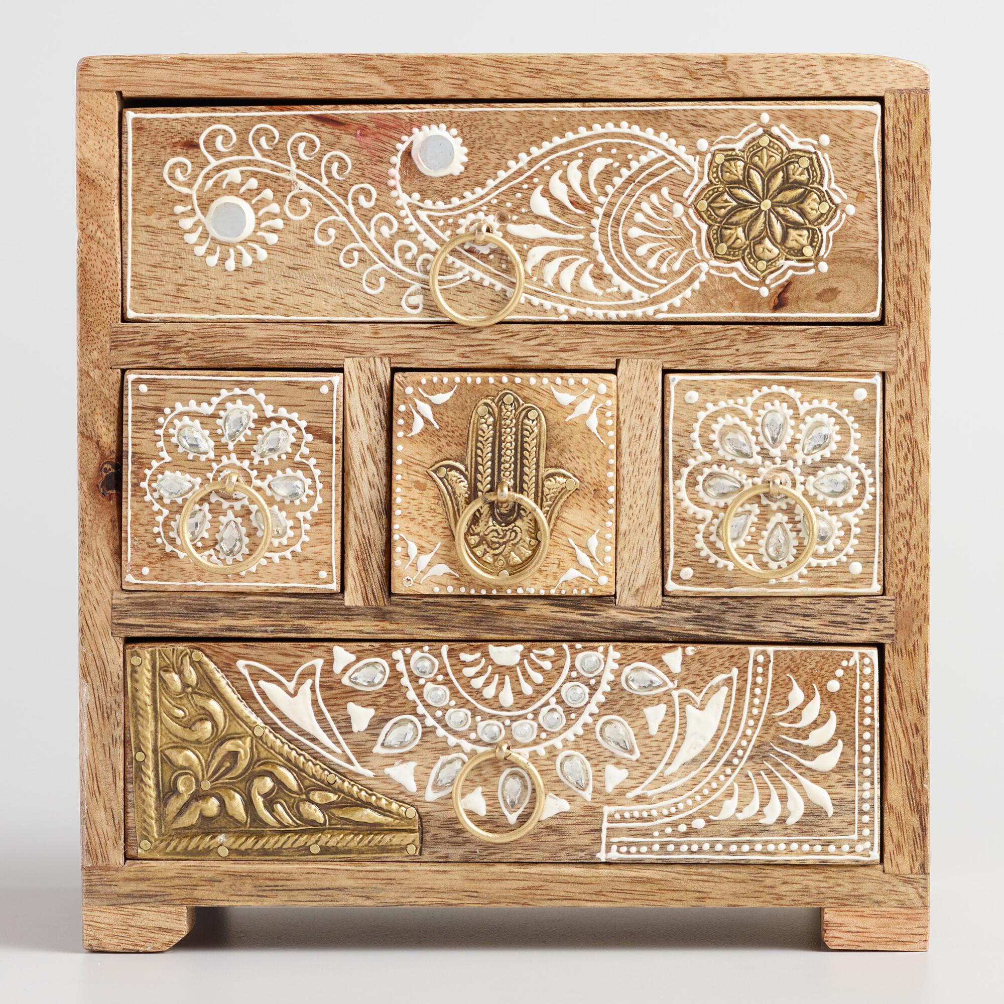 Wood and Embossed Metal Tabletop Storage Chest by World Market