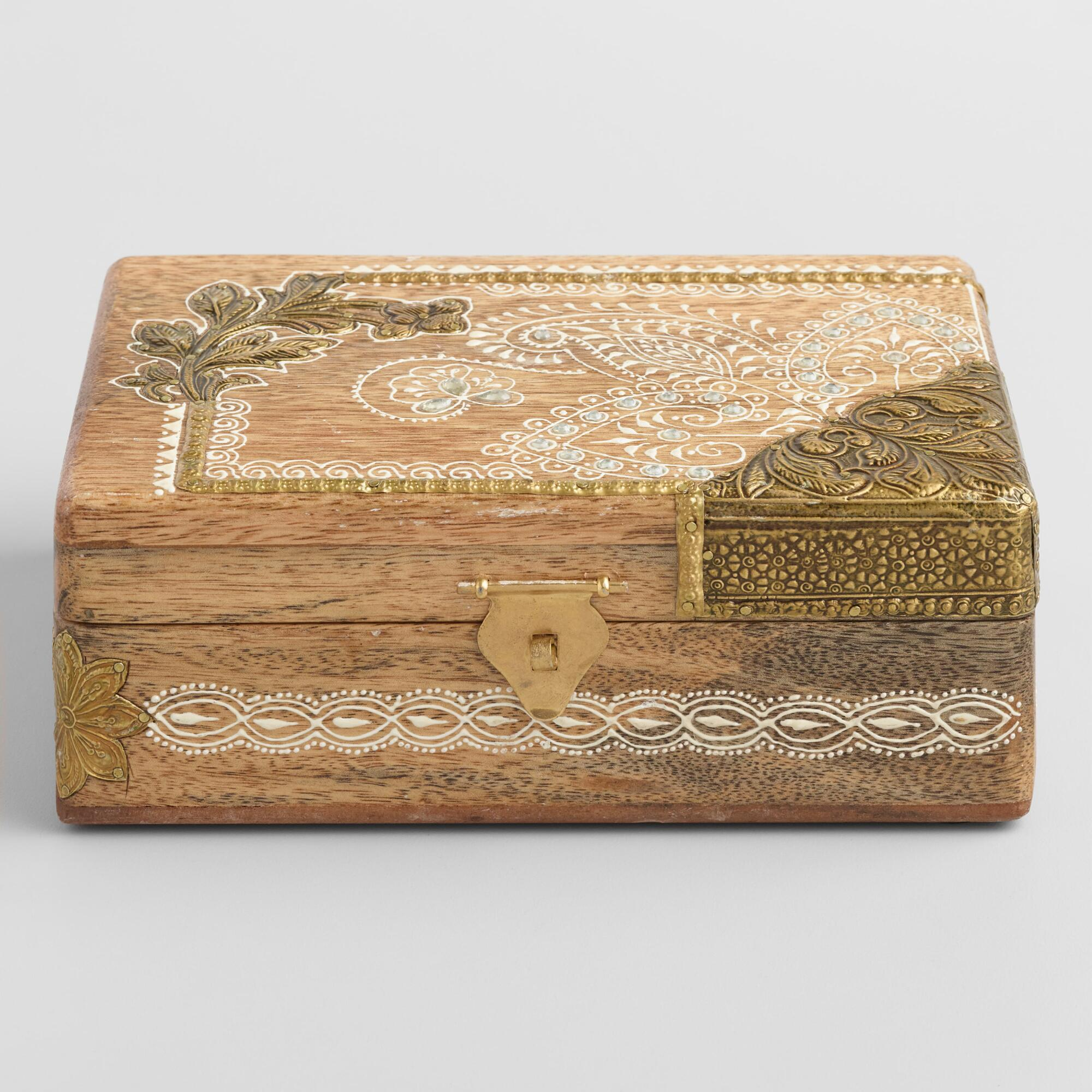 Wood and Embossed Metal Storage Box by World Market