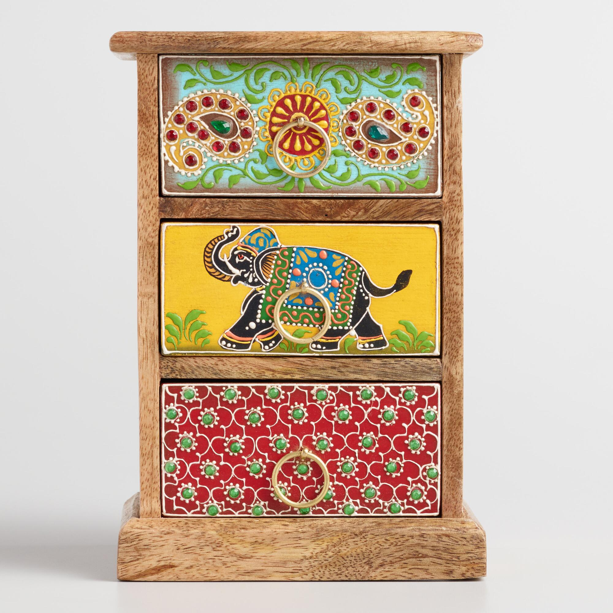 Hand Painted Elephant Tabletop Storage Chest by World Market