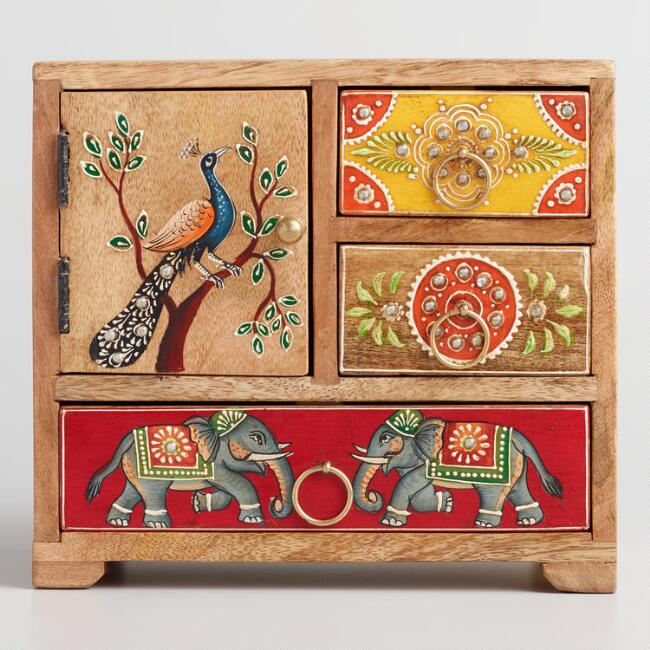 Hand Painted Elephant and Peacock Tabletop Storage Chest