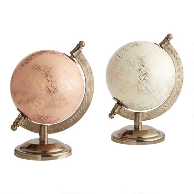 Mini Ivory and Blush Globes on Stands Set of 2