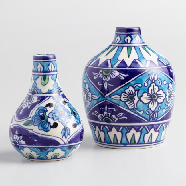 Blue and White Ceramic Jaipur Vases