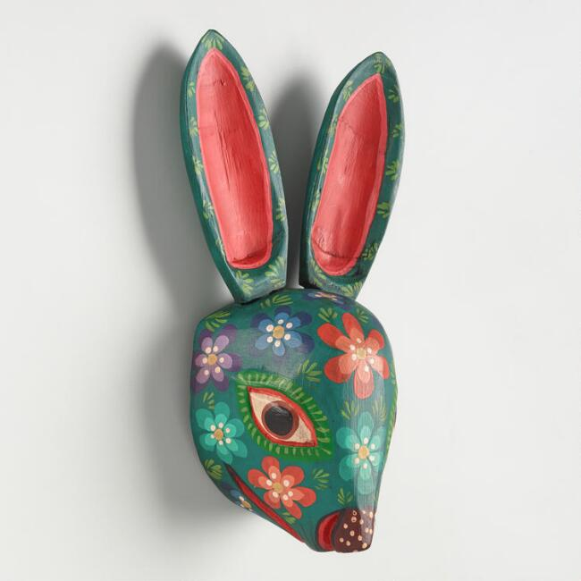 Carved Wood Rabbit Mask Wall Decor