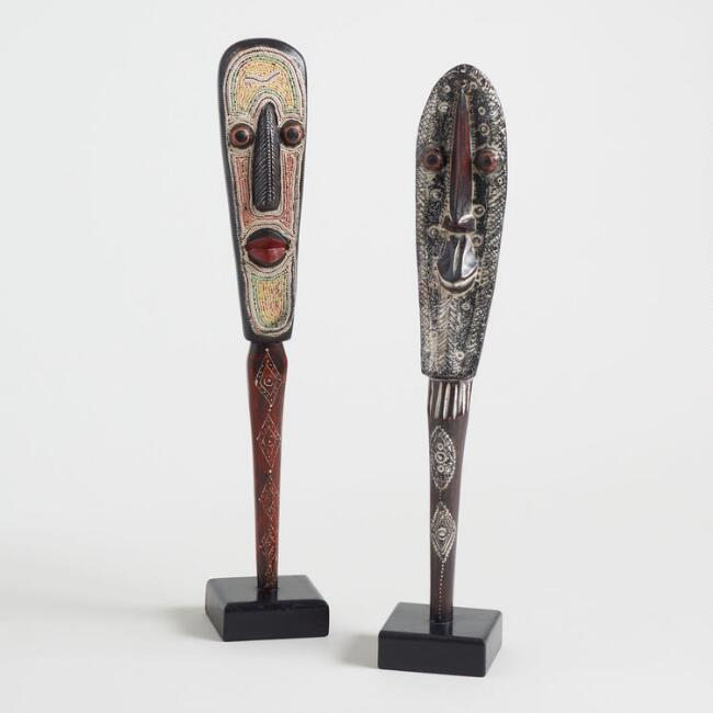 Wood Male and Female Masks on Stands