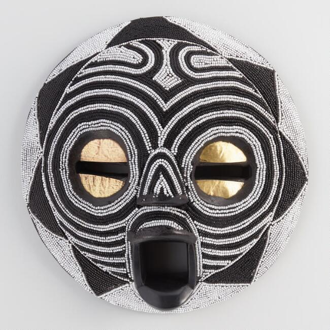 Black and White Beaded Mask Wall Decor