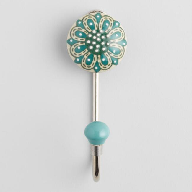 Silver and Aqua Flower Ceramic Hook