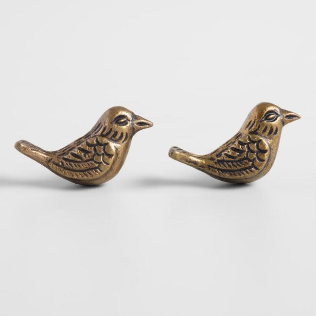 Brass Bird Knobs Set of 2
