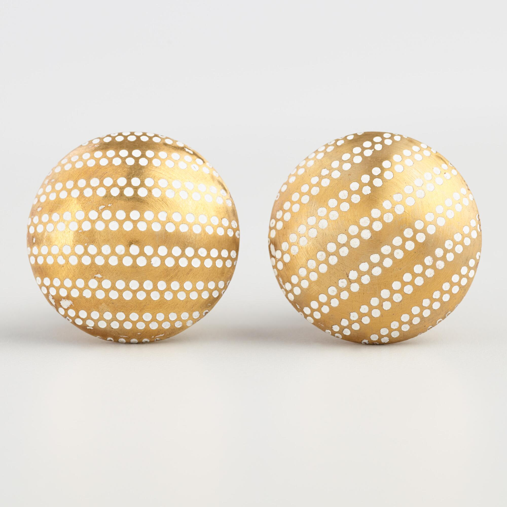 White and Brass Polka Dot Knobs Set of 2 by World Market