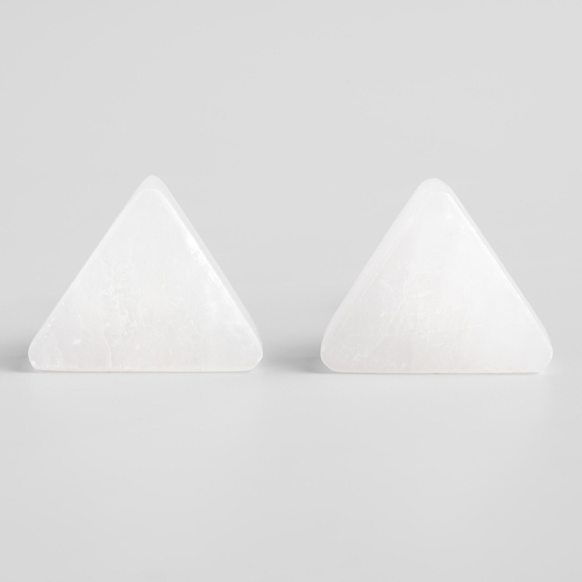 White Marble Triangle Knobs Set of 2 by World Market