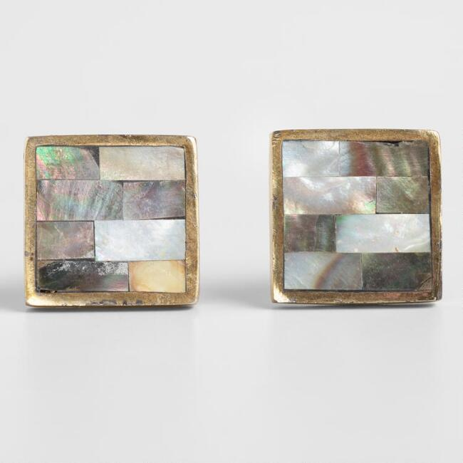 Mother of Pearl and Brass Square Knobs Set of 2