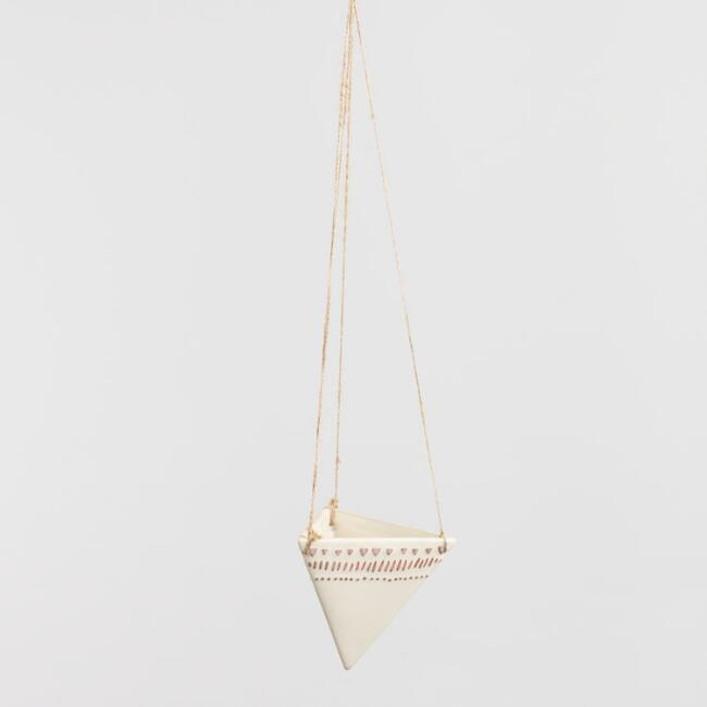 White Ceramic Diamond Hanging Planter