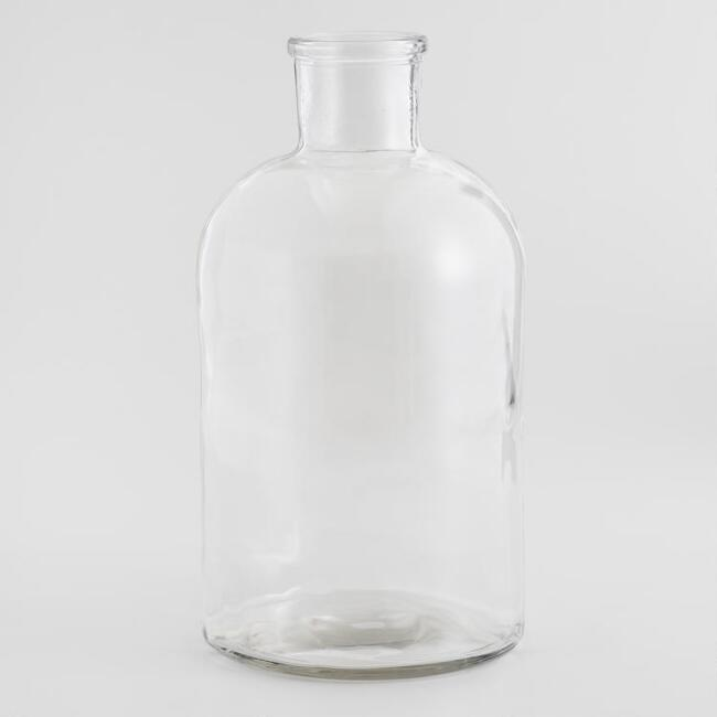 Medium Clear Glass Bottleneck Vase