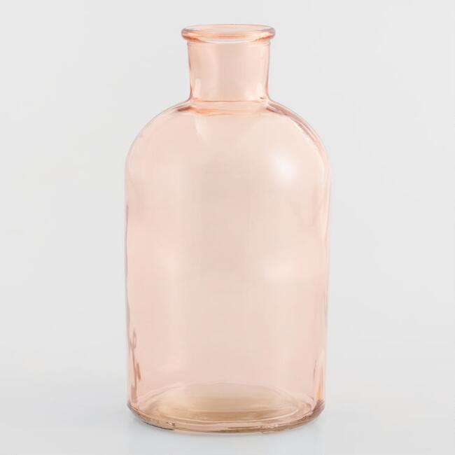 Small Blush Pink Glass Bottleneck Vases Set of 2