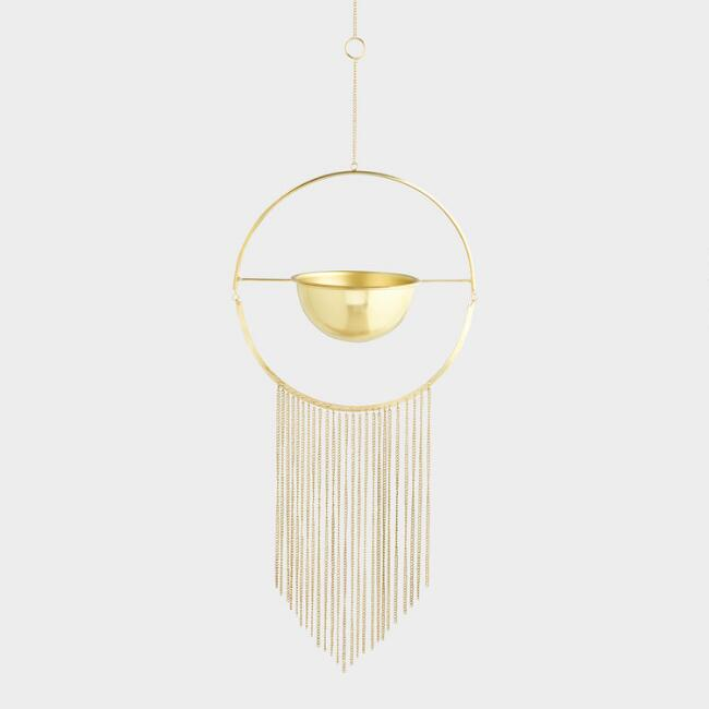 Brass Ring Hanging Planter with Fringe