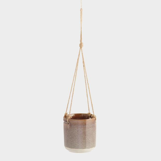 Small Brown Reactive Glaze Hanging Planter