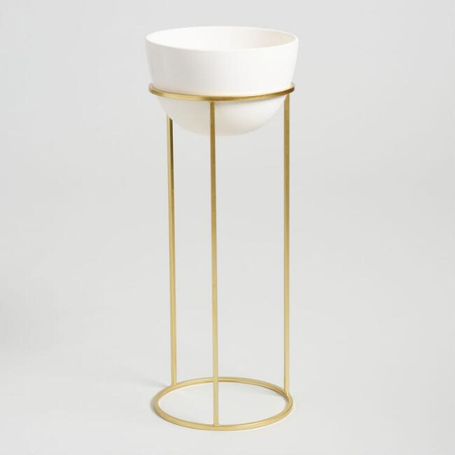 Ivory Ceramic Planter with Gold Stand