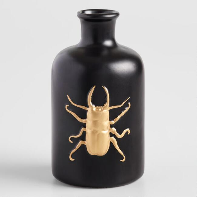 Small Black and Gold Bug Vase