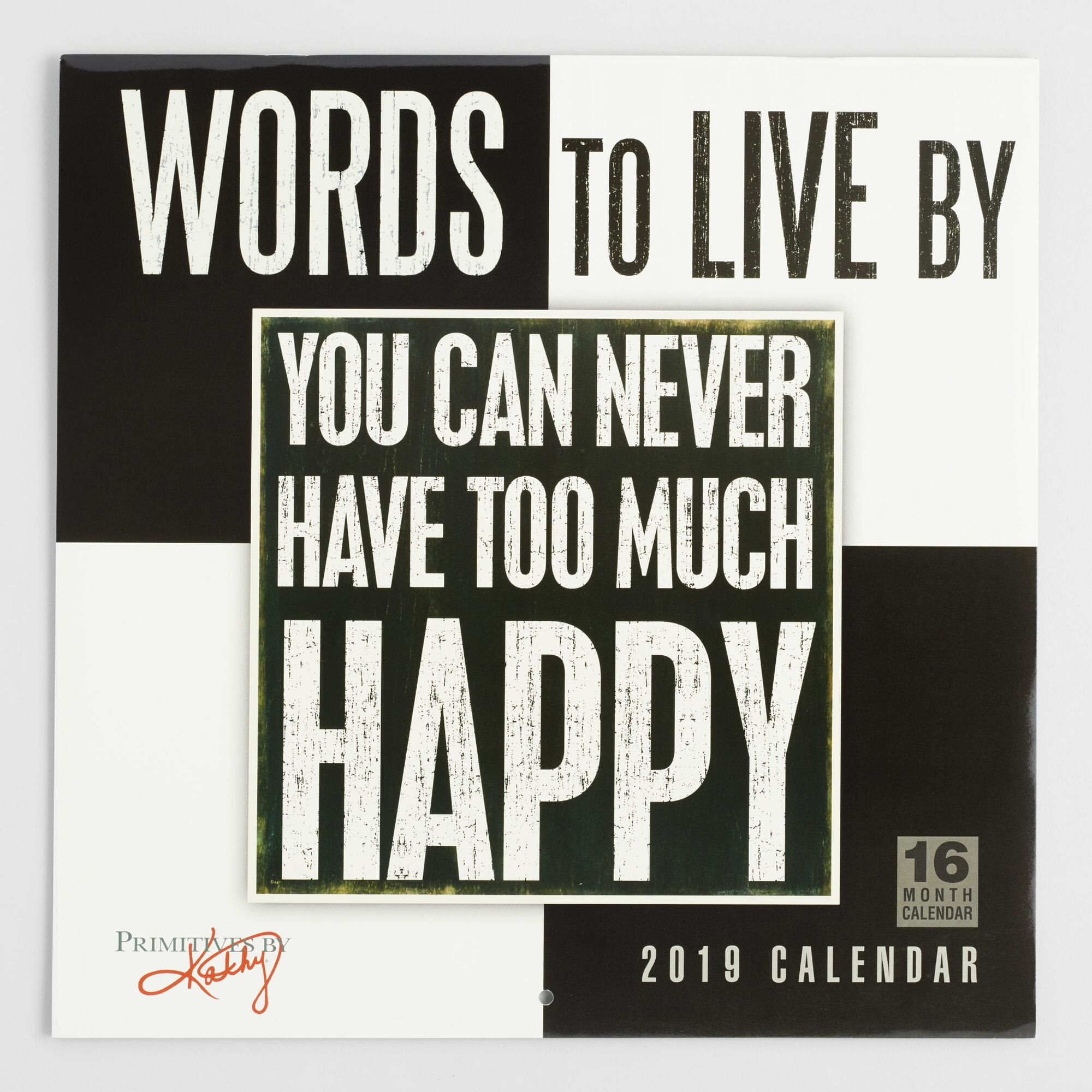 Words to Live By 2019 Wall Calendar by World Market