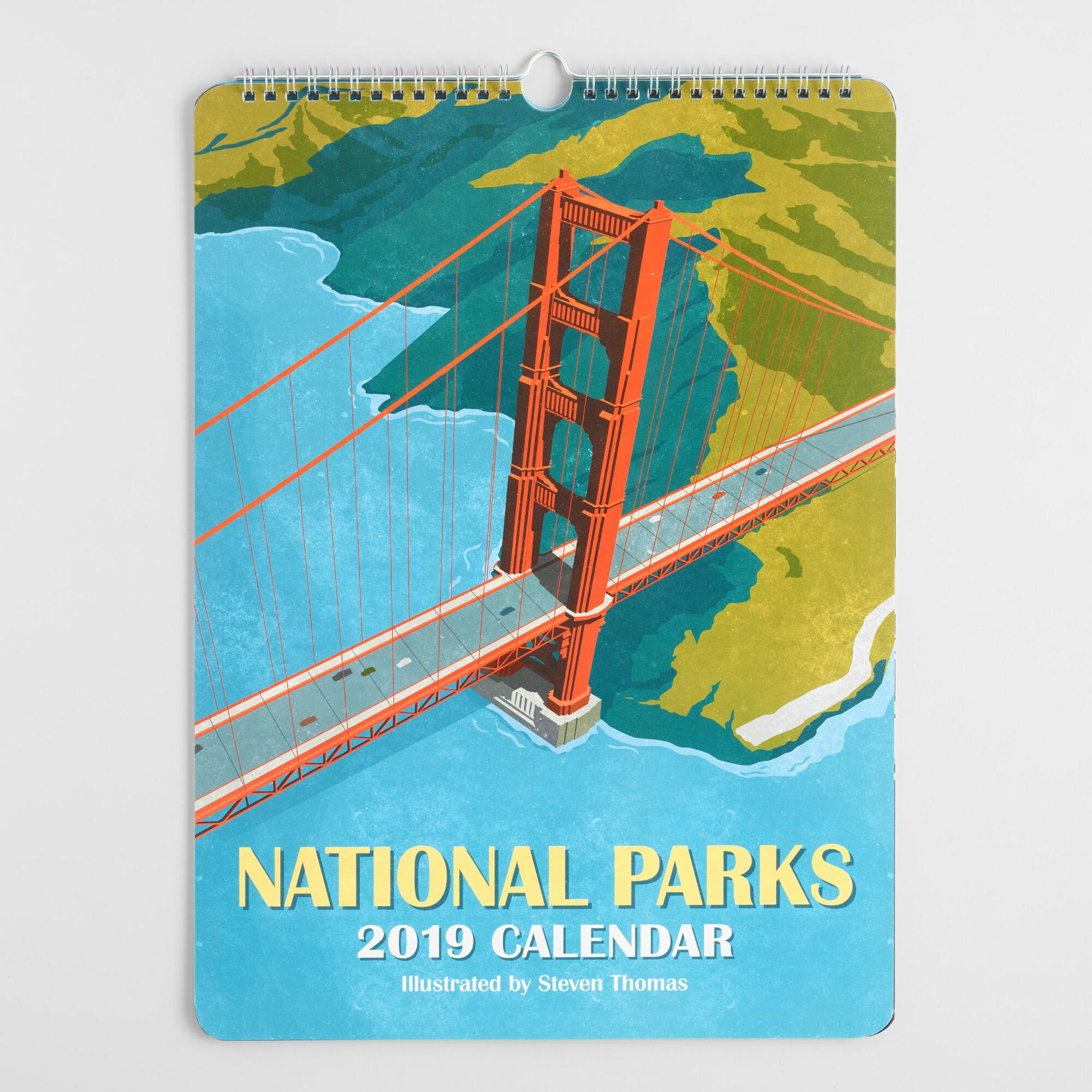 Illustrated National Parks 2019 Wall Calendar by World Market