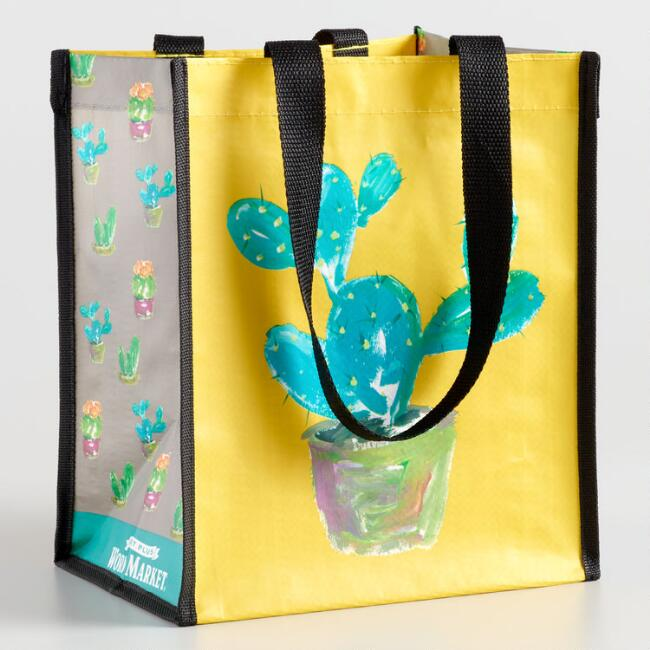 Small Mustard Cactus Tote Bags Set of 2