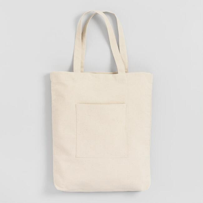 802c8b30568 White Canvas Tote Bag with Pocket
