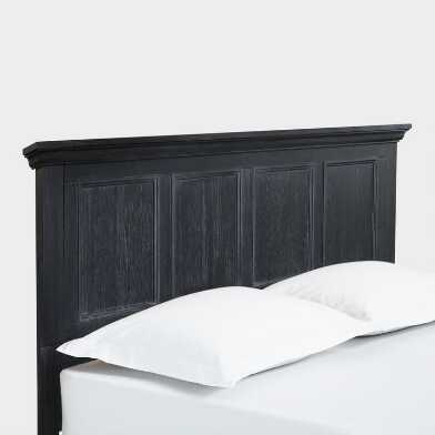 Antique Black Wood Farmhouse Radine Headboard