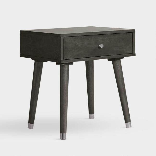 Gray Wood Caleb Accent Table with Drawer