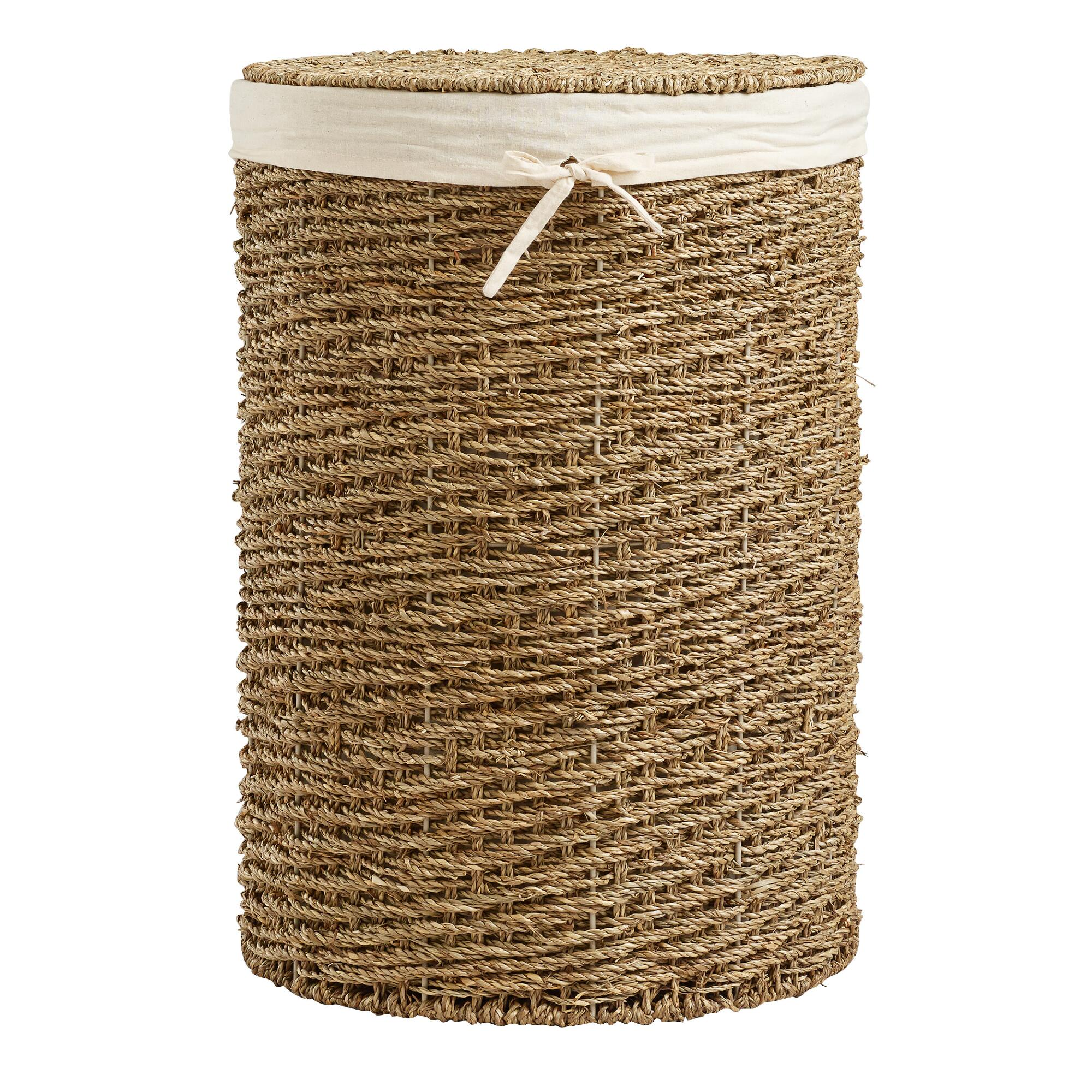 Trista Seagrass Round Hamper: Natural - Natural Fiber by World Market