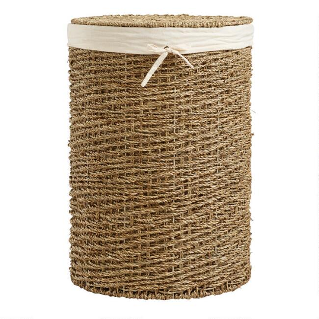 Round Seagrass Trista Hamper With Liner and Lid