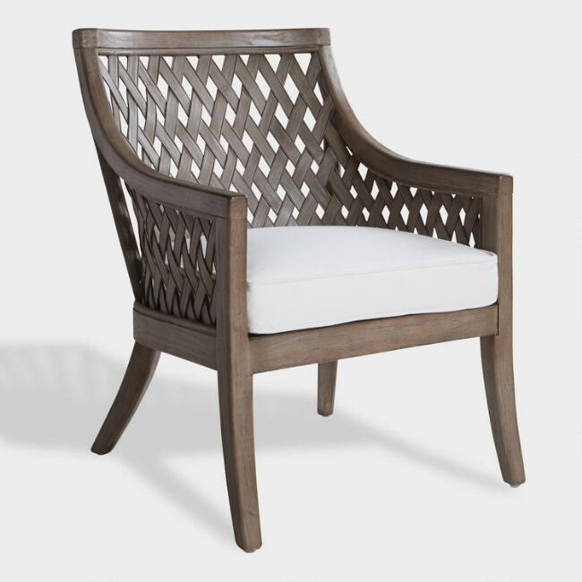 Graywashed Wood and Rattan Starla Chair
